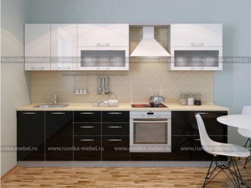 Кухня Фантазия глянец черный-белый