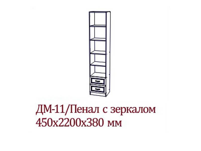 ДМ-11_Пенал_с_зеркалом_450х2200х380_мм
