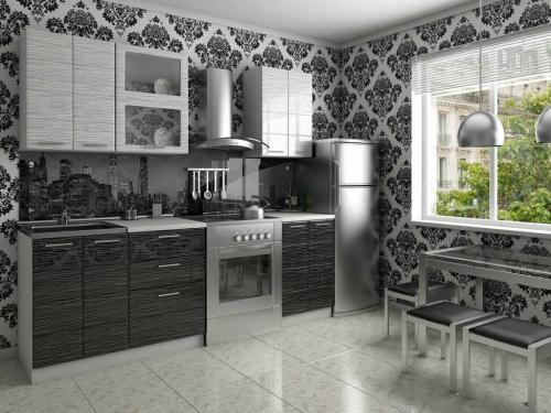 Кухня Соло черный-белый дождь 1800