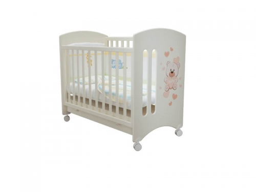 Кроватка детская Софи Мишка Тедди Белая с ящиком