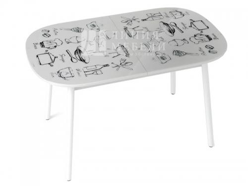 Стол обеденный Винтаж белый с рисунком