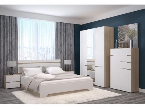 Спальня с 3-х створчатым шкафом и комодом Анталия Венге-Белый софт